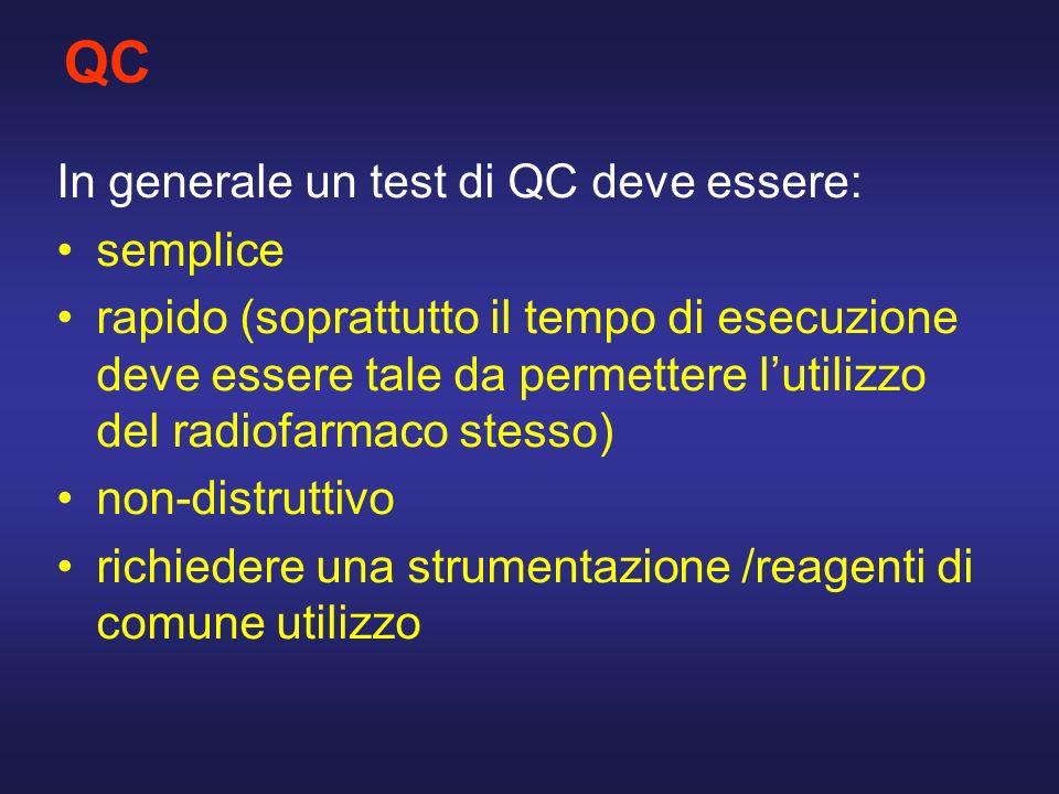 QC In generale un test di QC deve essere: semplice