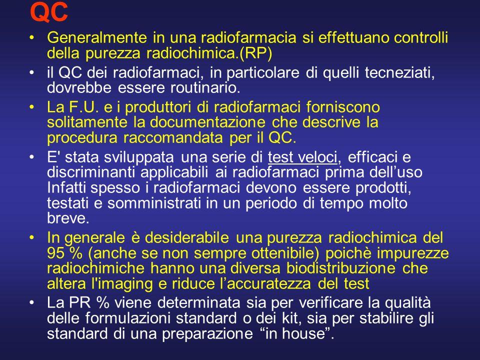 QC Generalmente in una radiofarmacia si effettuano controlli della purezza radiochimica.(RP)