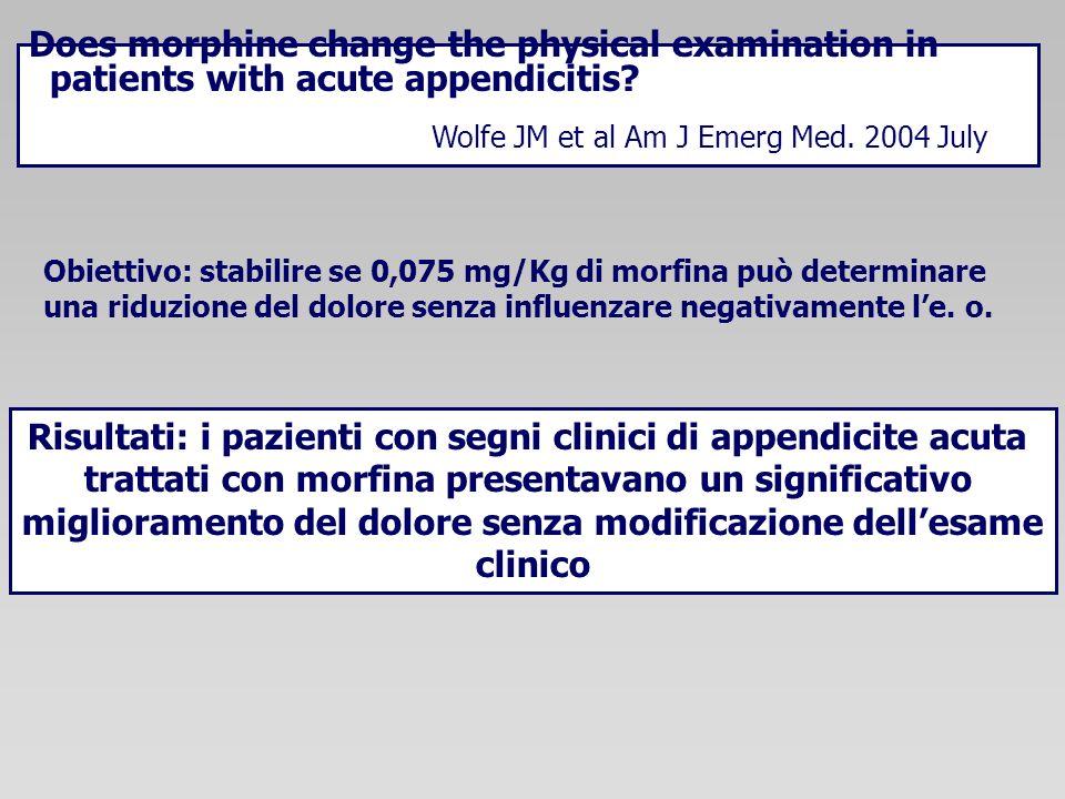 Risultati: i pazienti con segni clinici di appendicite acuta