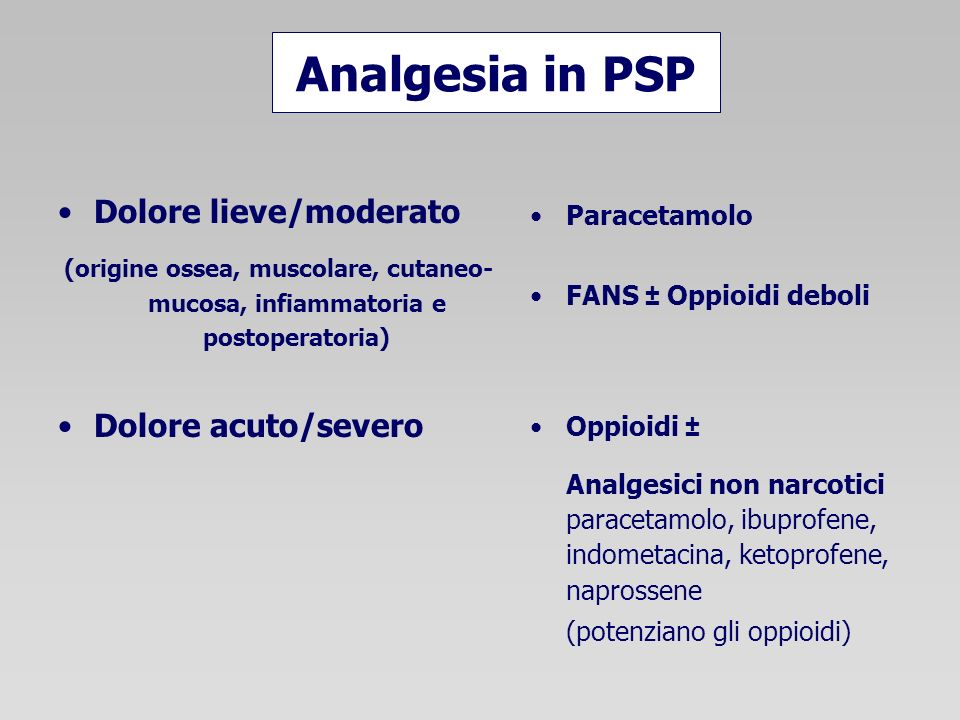 Analgesia in PSP Dolore lieve/moderato Dolore acuto/severo