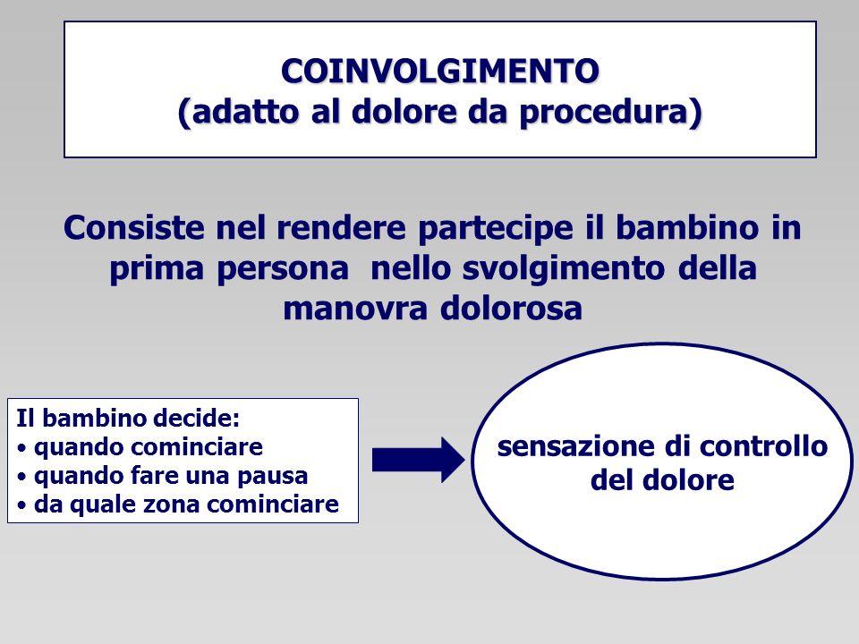 COINVOLGIMENTO (adatto al dolore da procedura) sensazione di controllo