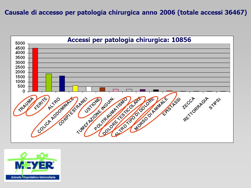 Causale di accesso per patologia chirurgica anno 2006 (totale accessi 36467)