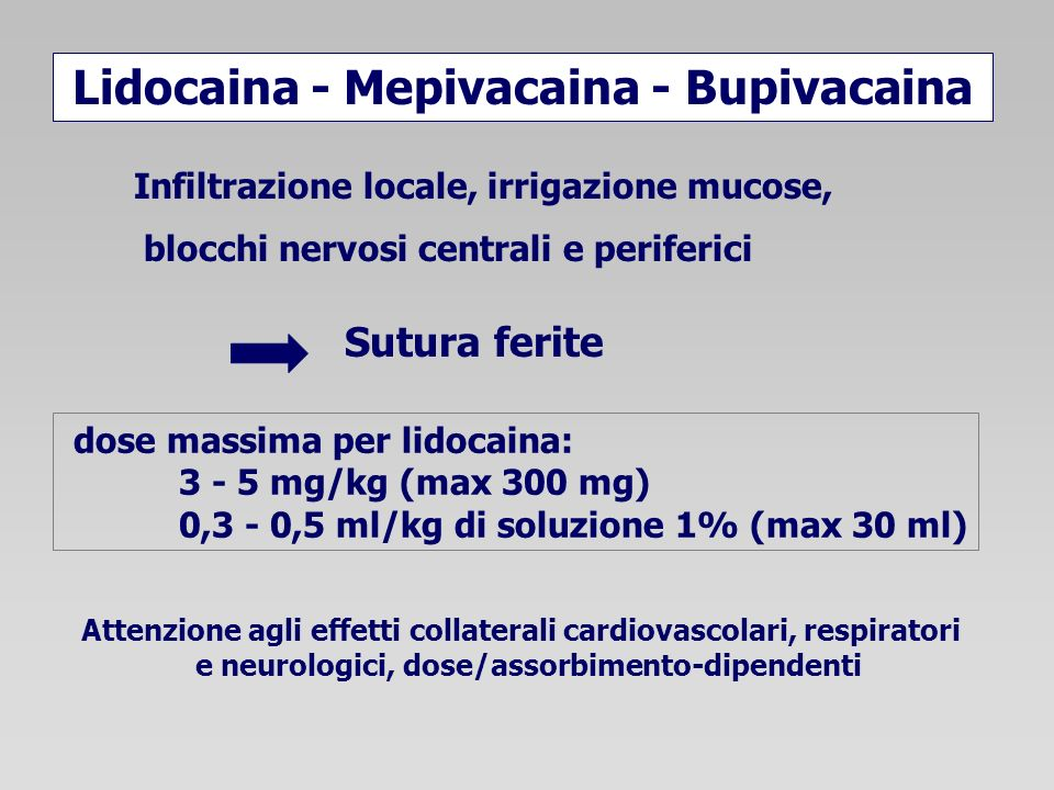 Lidocaina - Mepivacaina - Bupivacaina