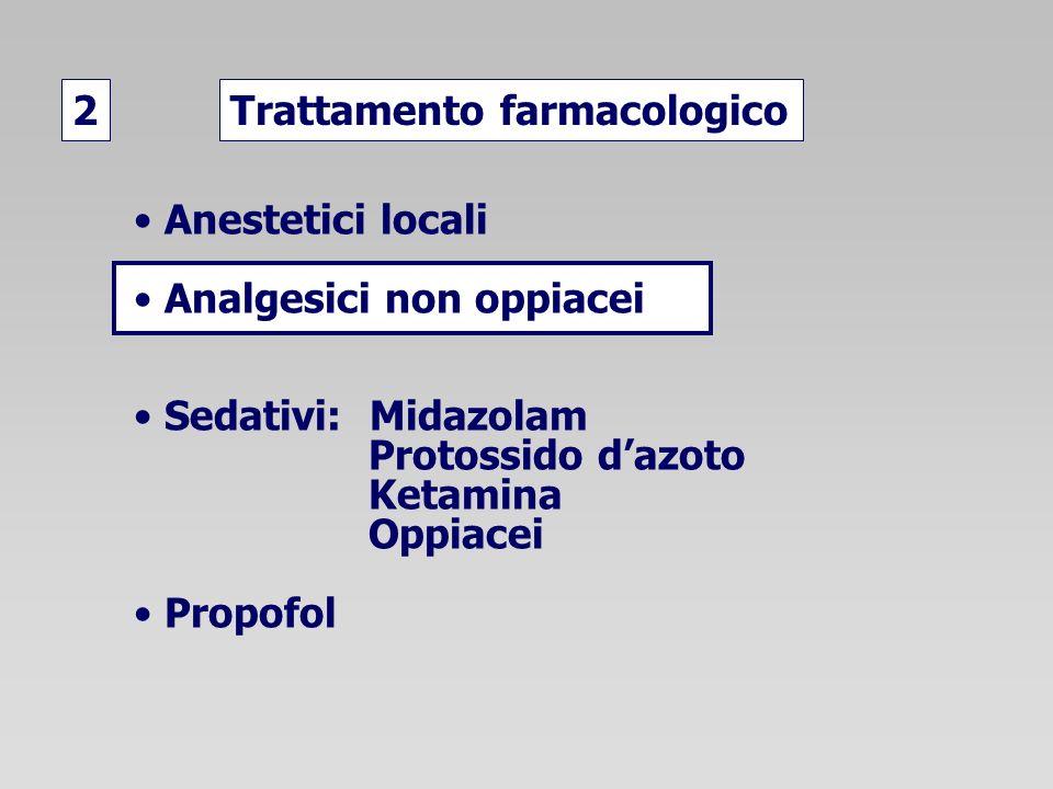 2 Trattamento farmacologico. Anestetici locali. Analgesici non oppiacei. Sedativi: Midazolam. Protossido d'azoto.
