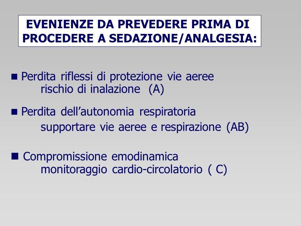 EVENIENZE DA PREVEDERE PRIMA DI PROCEDERE A SEDAZIONE/ANALGESIA: