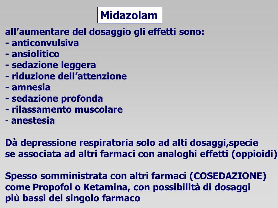 Midazolam all'aumentare del dosaggio gli effetti sono: