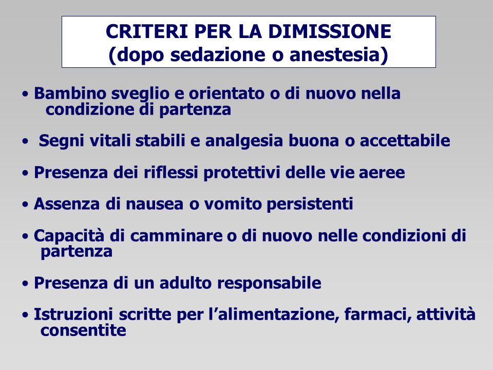 CRITERI PER LA DIMISSIONE (dopo sedazione o anestesia)