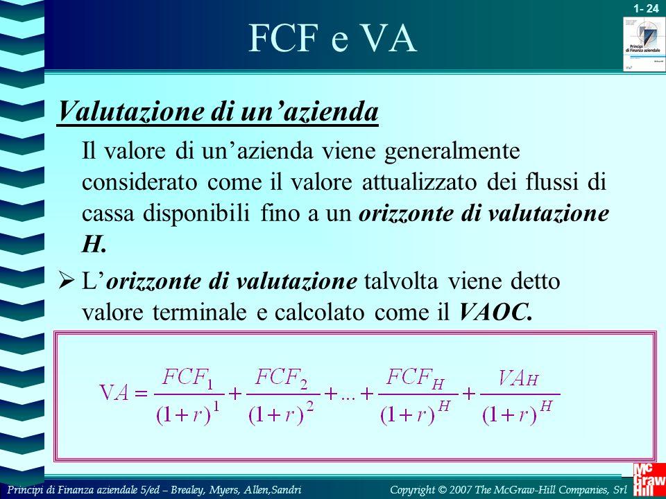 FCF e VA Valutazione di un'azienda