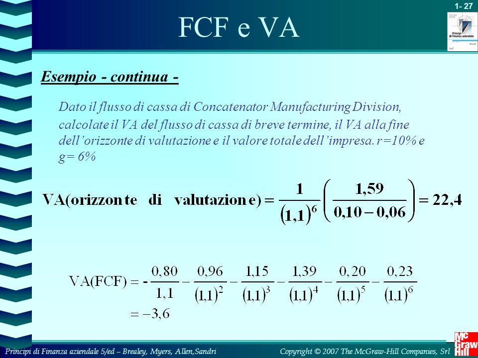 FCF e VA Esempio - continua -