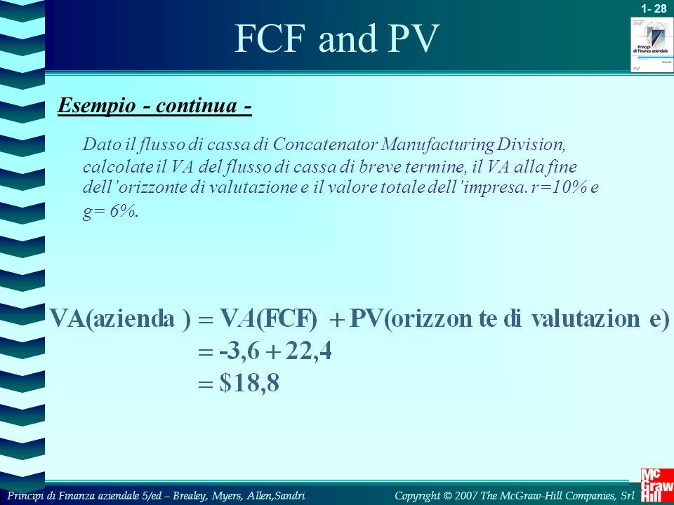 FCF and PV Esempio - continua -