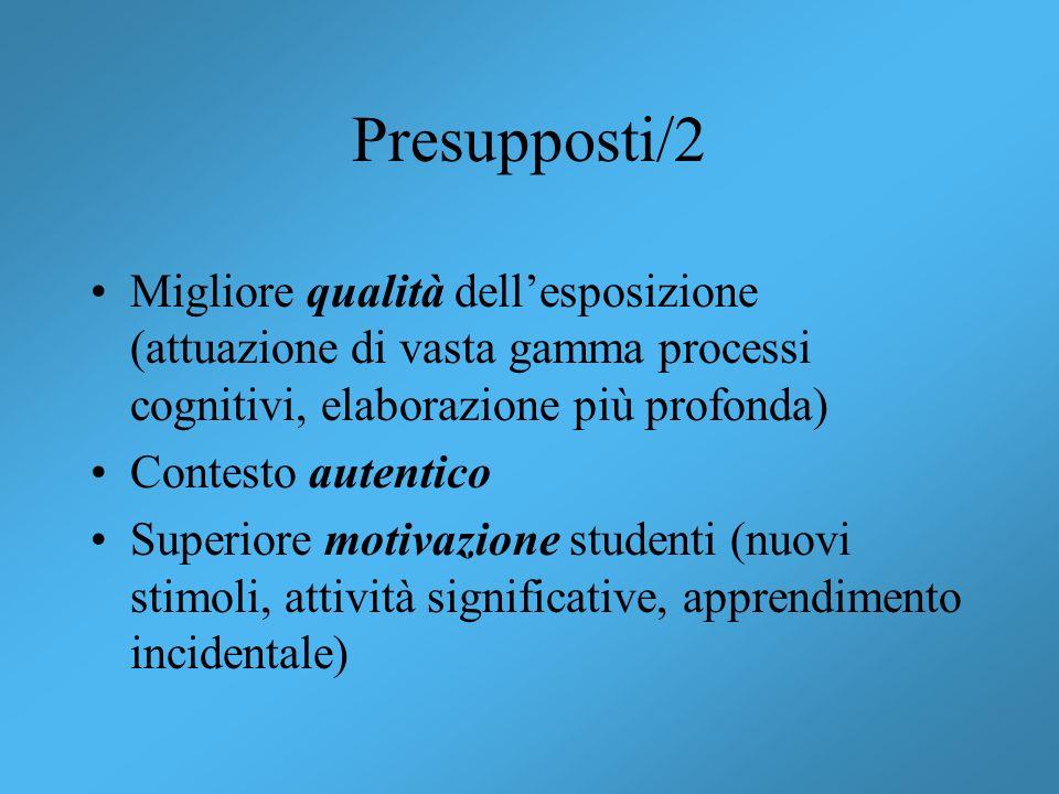Presupposti/2 Migliore qualità dell'esposizione (attuazione di vasta gamma processi cognitivi, elaborazione più profonda)