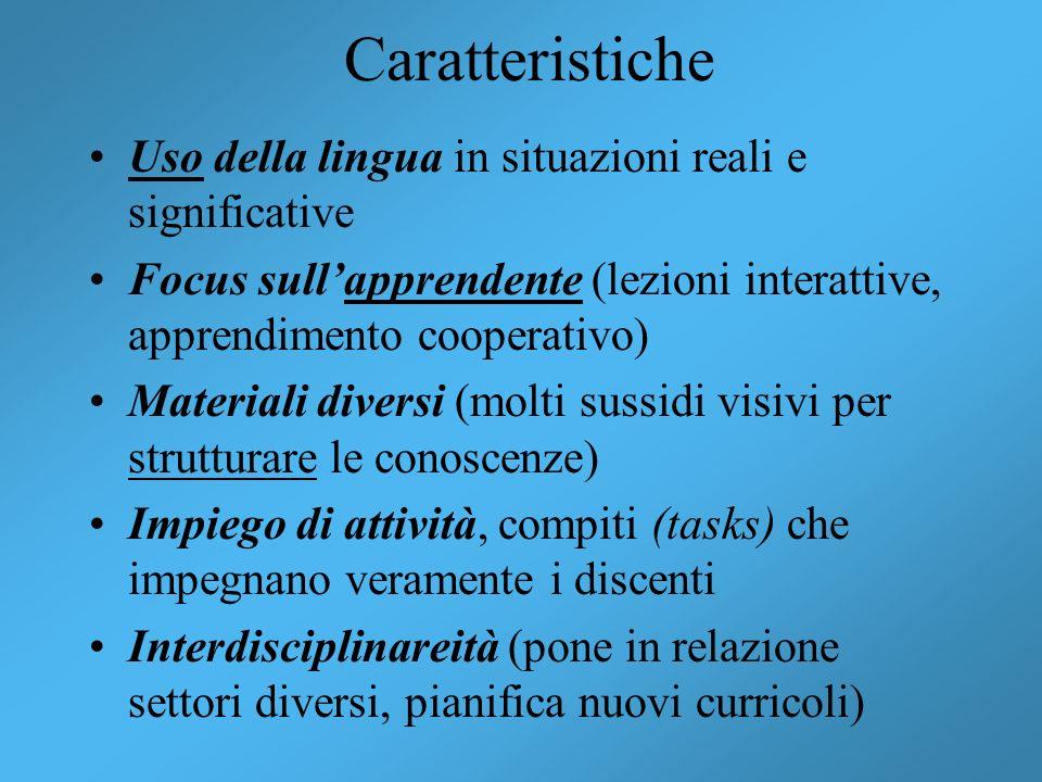 Caratteristiche Uso della lingua in situazioni reali e significative