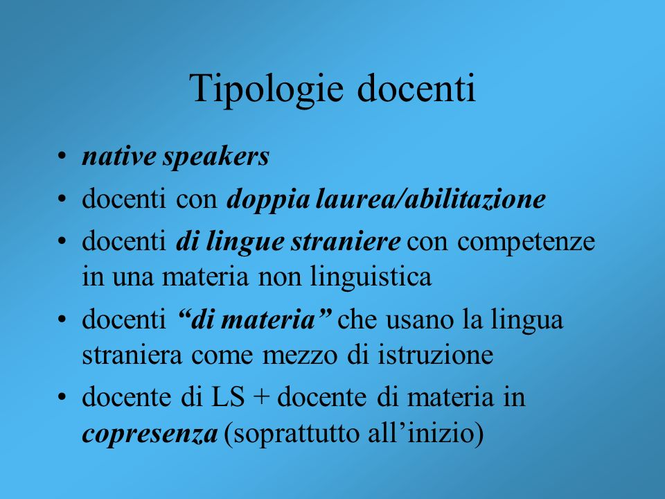 Tipologie docenti native speakers