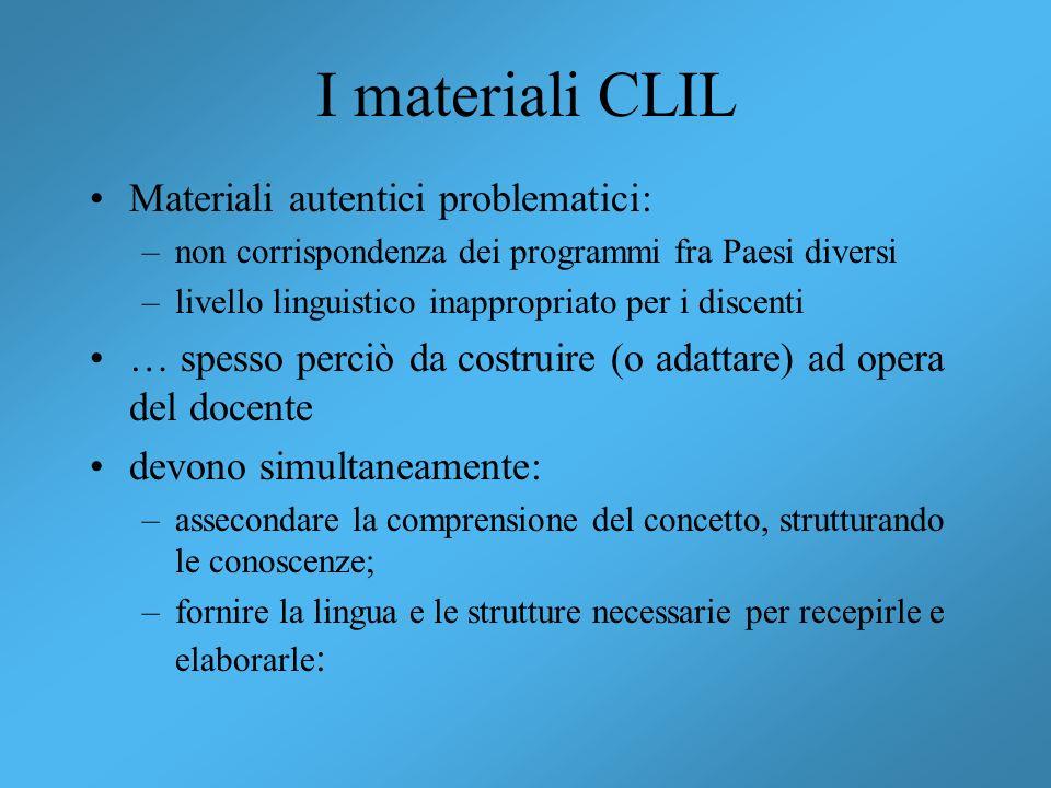 I materiali CLIL Materiali autentici problematici: