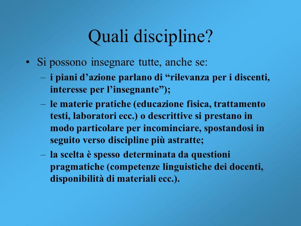 Quali discipline Si possono insegnare tutte, anche se: