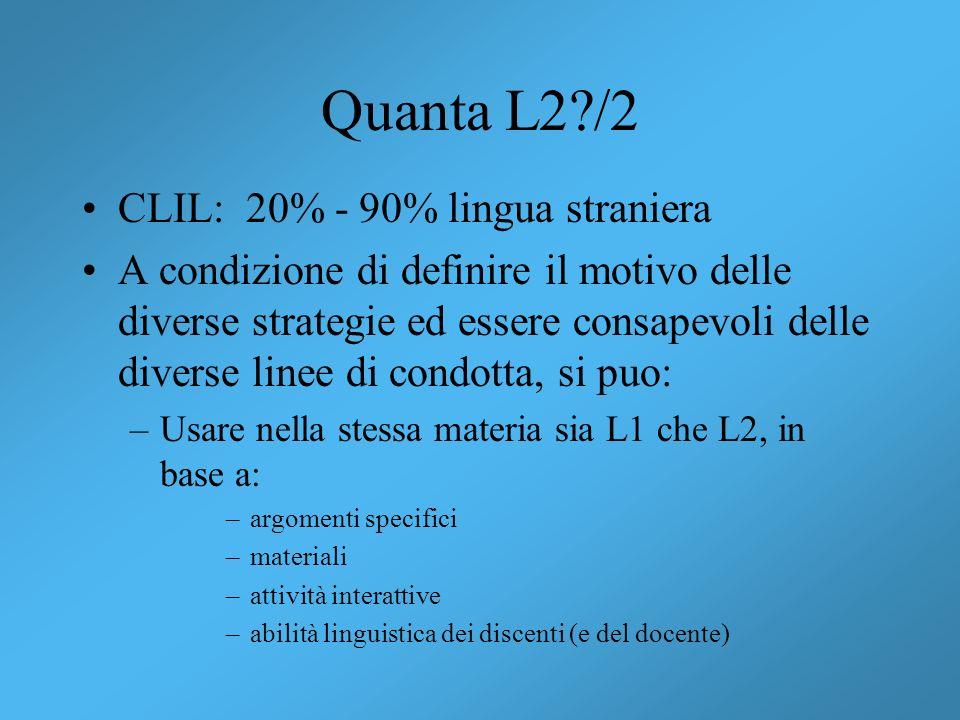 Quanta L2 /2 CLIL: 20% - 90% lingua straniera