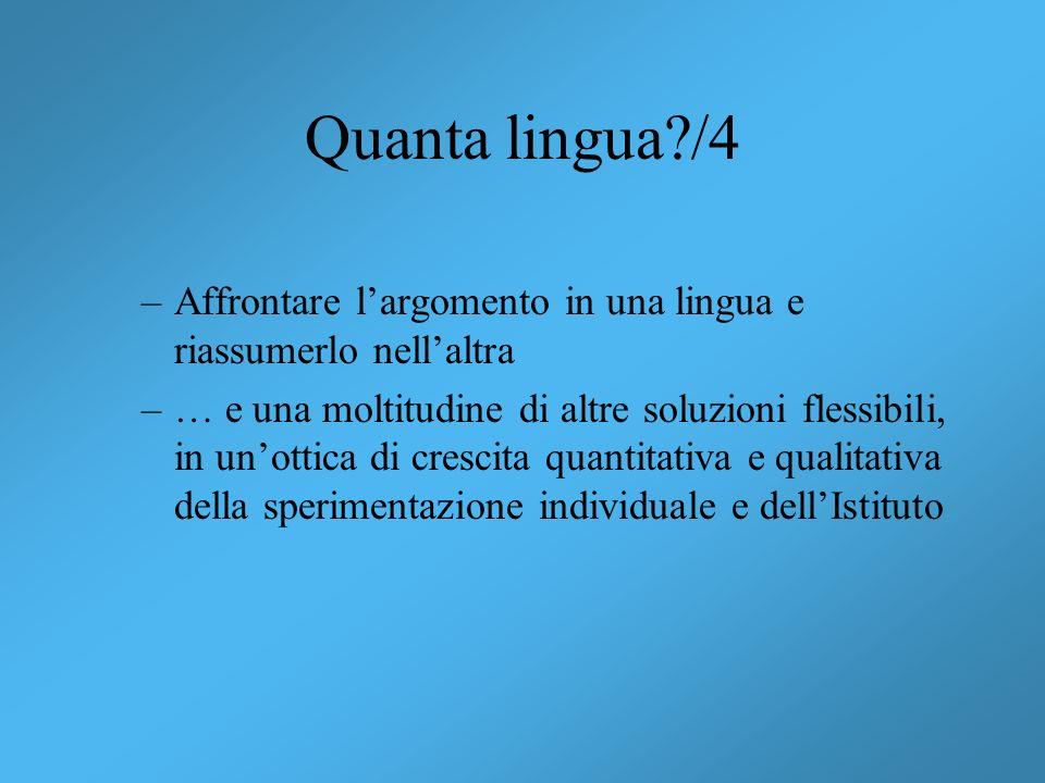 Quanta lingua /4 Affrontare l'argomento in una lingua e riassumerlo nell'altra.