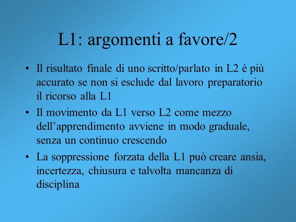 L1: argomenti a favore/2 Il risultato finale di uno scritto/parlato in L2 è più accurato se non si esclude dal lavoro preparatorio il ricorso alla L1.