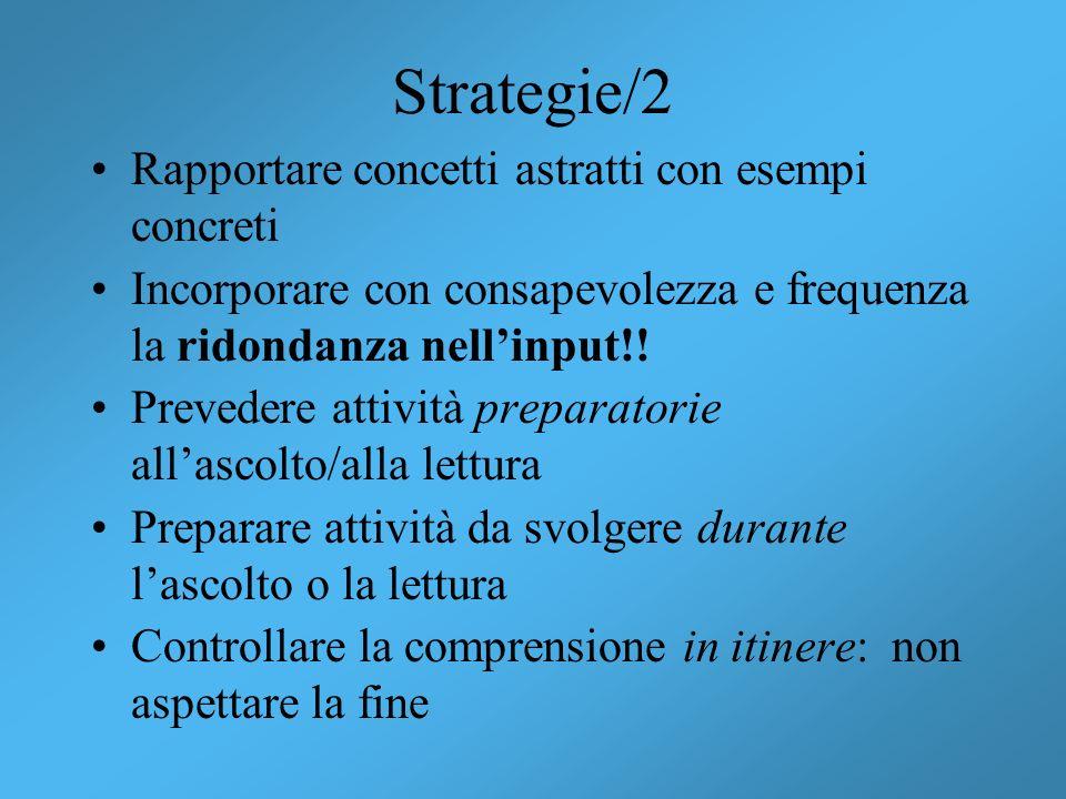 Strategie/2 Rapportare concetti astratti con esempi concreti
