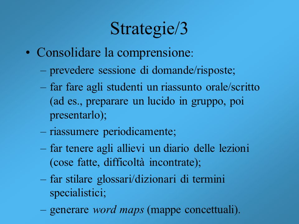 Strategie/3 Consolidare la comprensione: