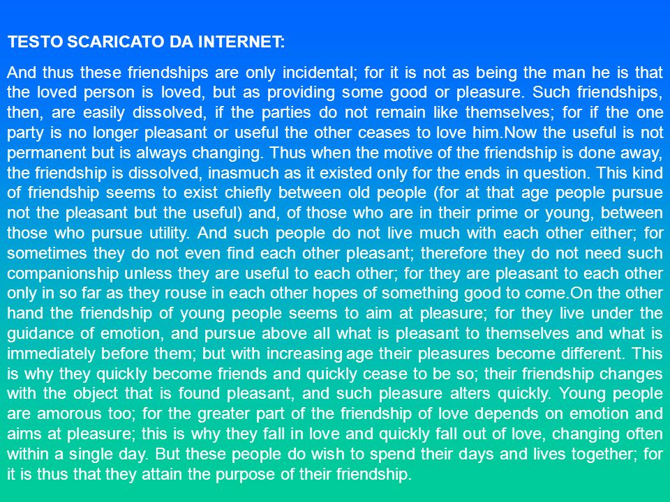TESTO SCARICATO DA INTERNET: