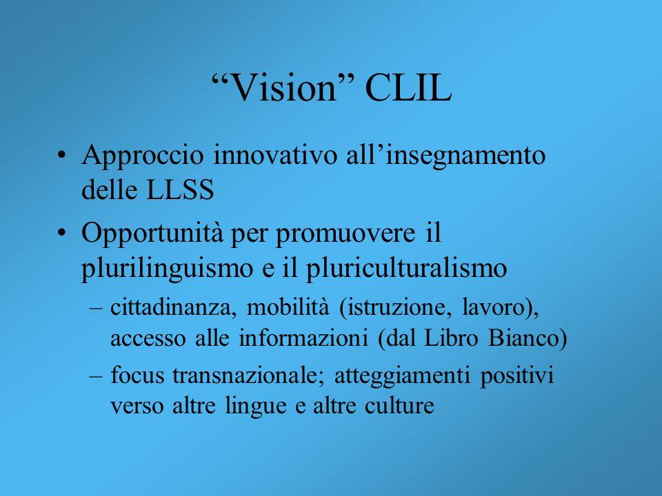 Vision CLIL Approccio innovativo all'insegnamento delle LLSS