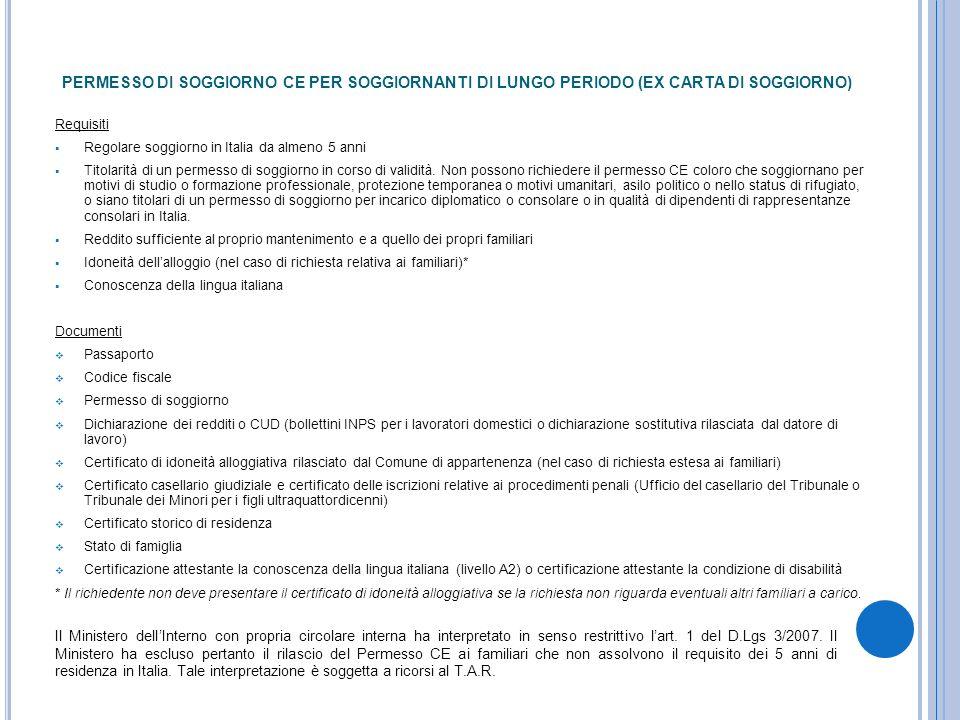 Best Carta Di Soggiorno Per Motivi Familiari Contemporary - Casa ...