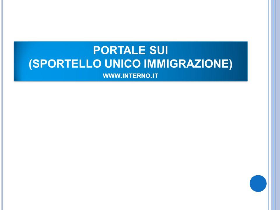 PORTALE SUI (SPORTELLO UNICO IMMIGRAZIONE) www.interno.it