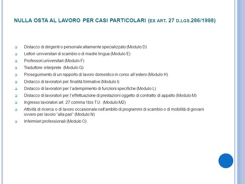 NULLA OSTA AL LAVORO PER CASI PARTICOLARI (ex art. 27 d.lgs.286/1998)