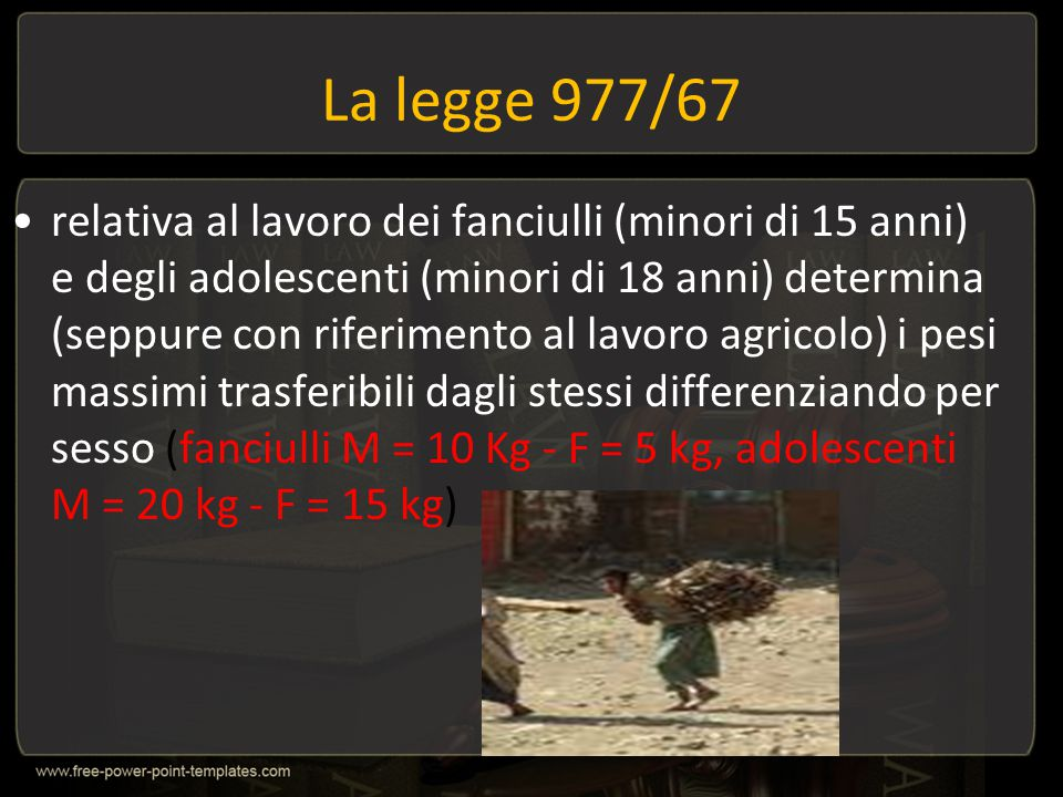 La legge 977/67