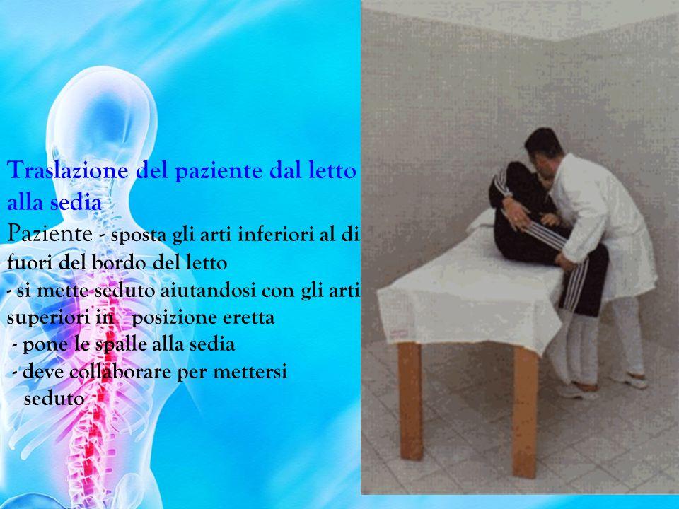 Traslazione del paziente dal letto alla sedia Paziente - sposta gli arti inferiori al di fuori del bordo del letto - si mette seduto aiutandosi con gli arti superiori in posizione eretta - pone le spalle alla sedia - deve collaborare per mettersi seduto