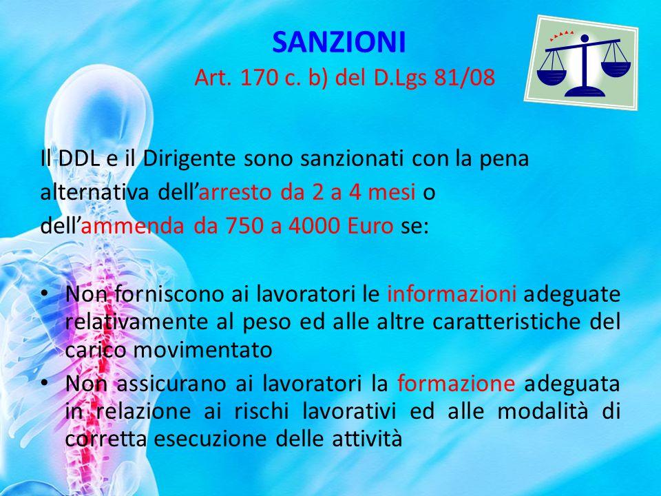 SANZIONI Art. 170 c. b) del D.Lgs 81/08