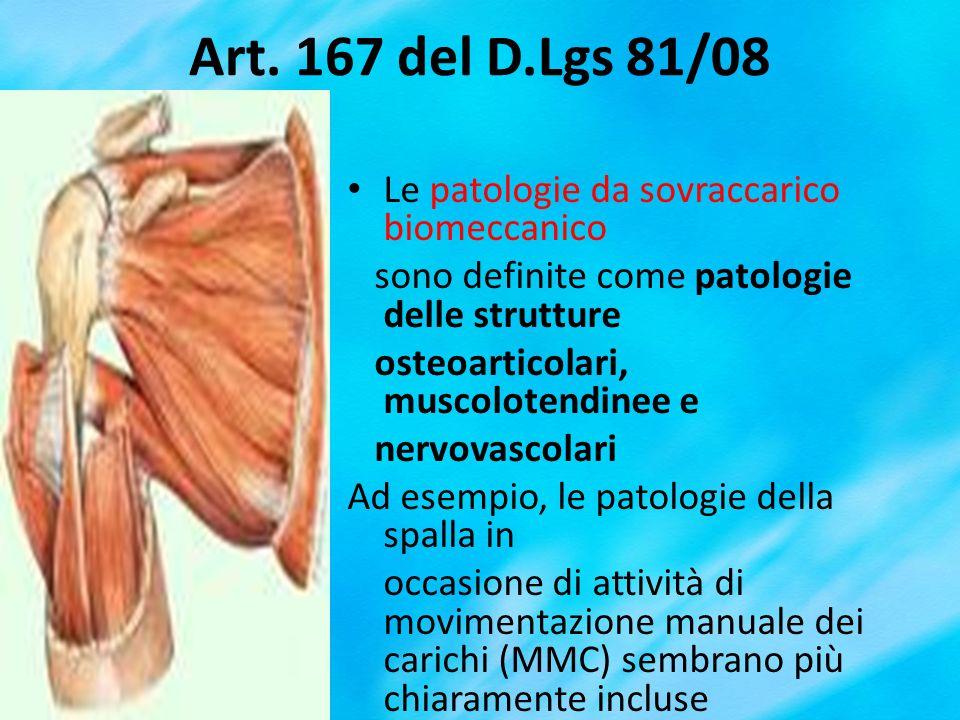 Art. 167 del D.Lgs 81/08 Le patologie da sovraccarico biomeccanico