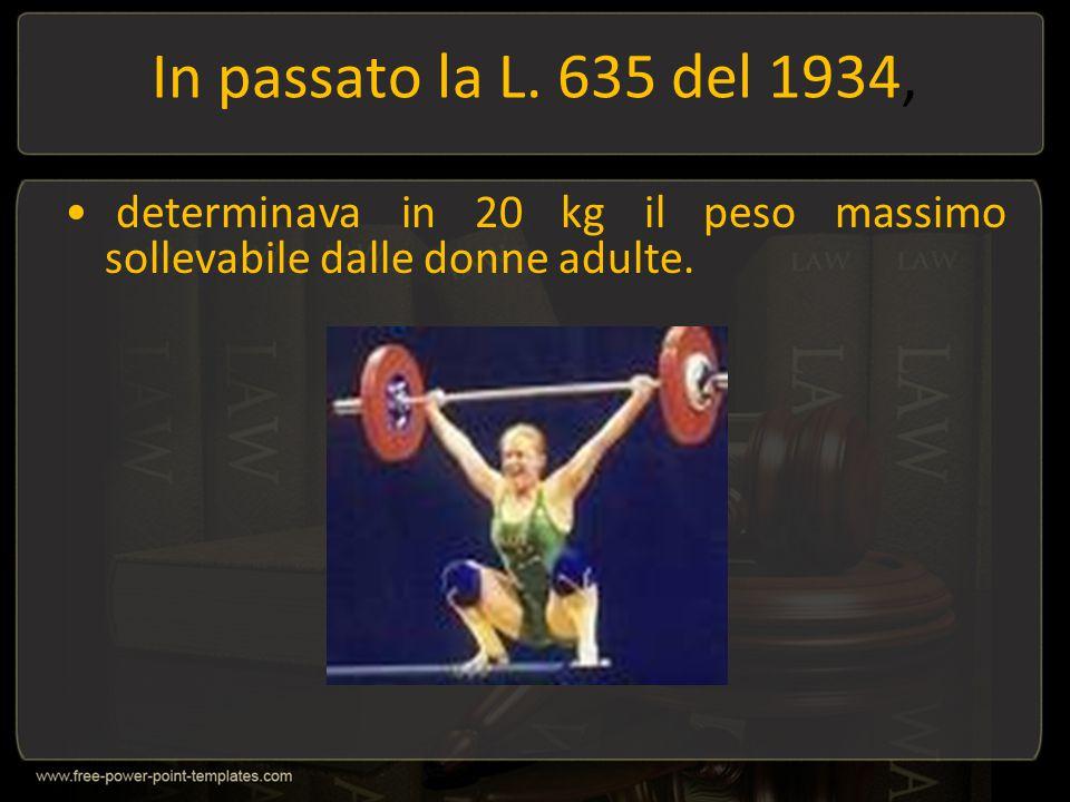 In passato la L. 635 del 1934, determinava in 20 kg il peso massimo sollevabile dalle donne adulte.