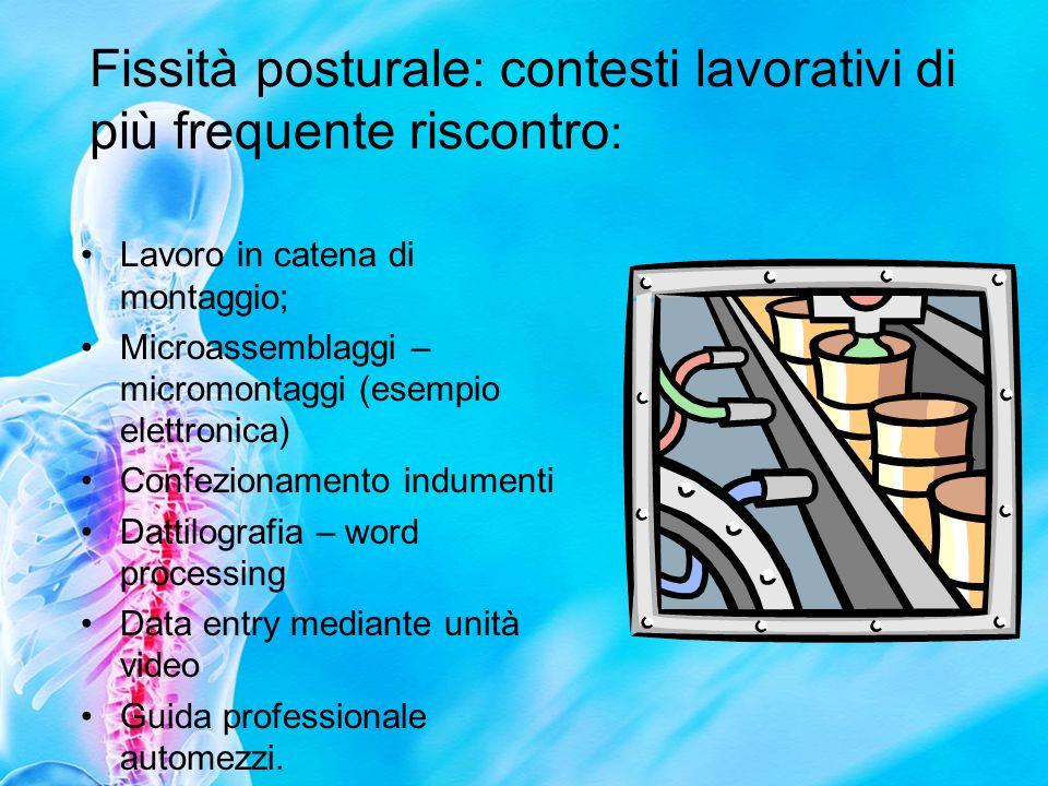 Fissità posturale: contesti lavorativi di più frequente riscontro: