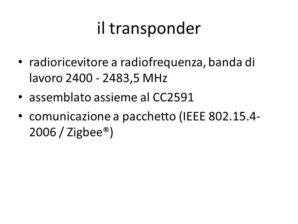il transponder radioricevitore a radiofrequenza, banda di lavoro 2400 - 2483,5 MHz. assemblato assieme al CC2591.