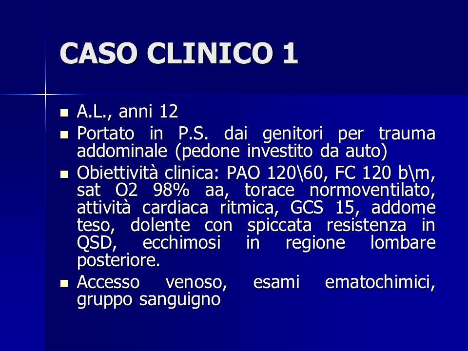 CASO CLINICO 1 A.L., anni 12. Portato in P.S. dai genitori per trauma addominale (pedone investito da auto)