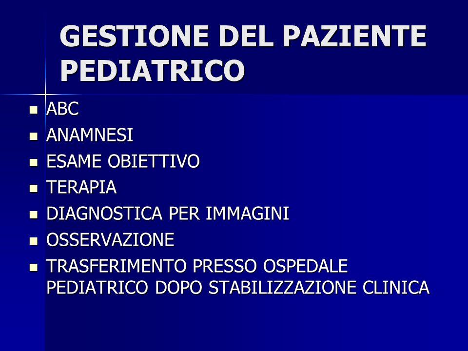 GESTIONE DEL PAZIENTE PEDIATRICO