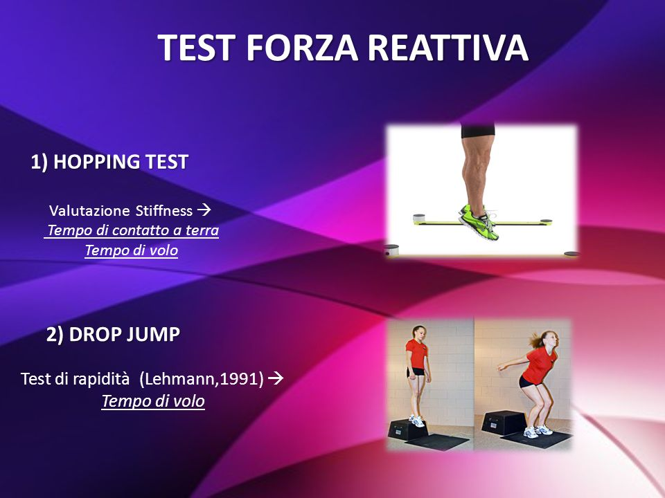 TEST FORZA REATTIVA 1) HOPPING TEST 2) DROP JUMP