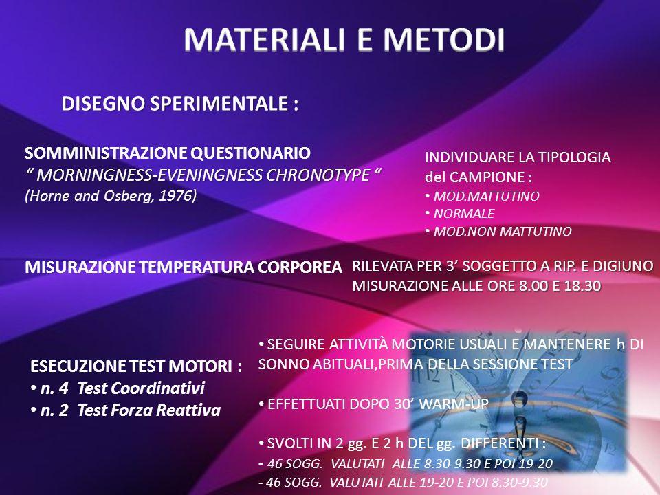 MATERIALI E METODI DISEGNO SPERIMENTALE :