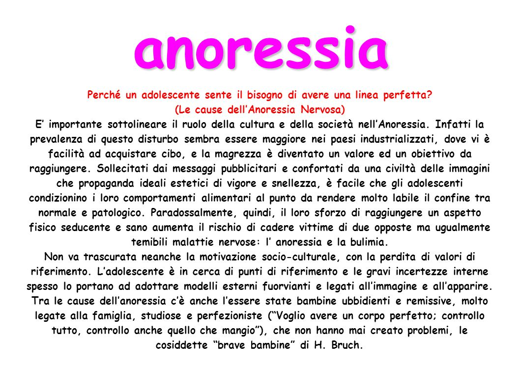 anoressia Perché un adolescente sente il bisogno di avere una linea perfetta (Le cause dell'Anoressia Nervosa)