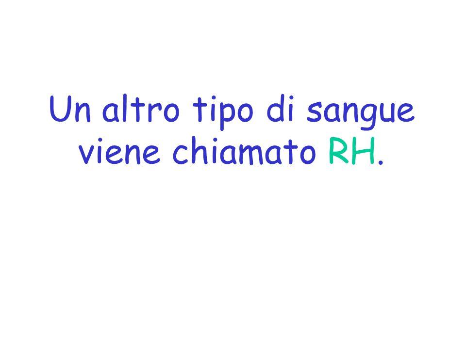 Un altro tipo di sangue viene chiamato RH.