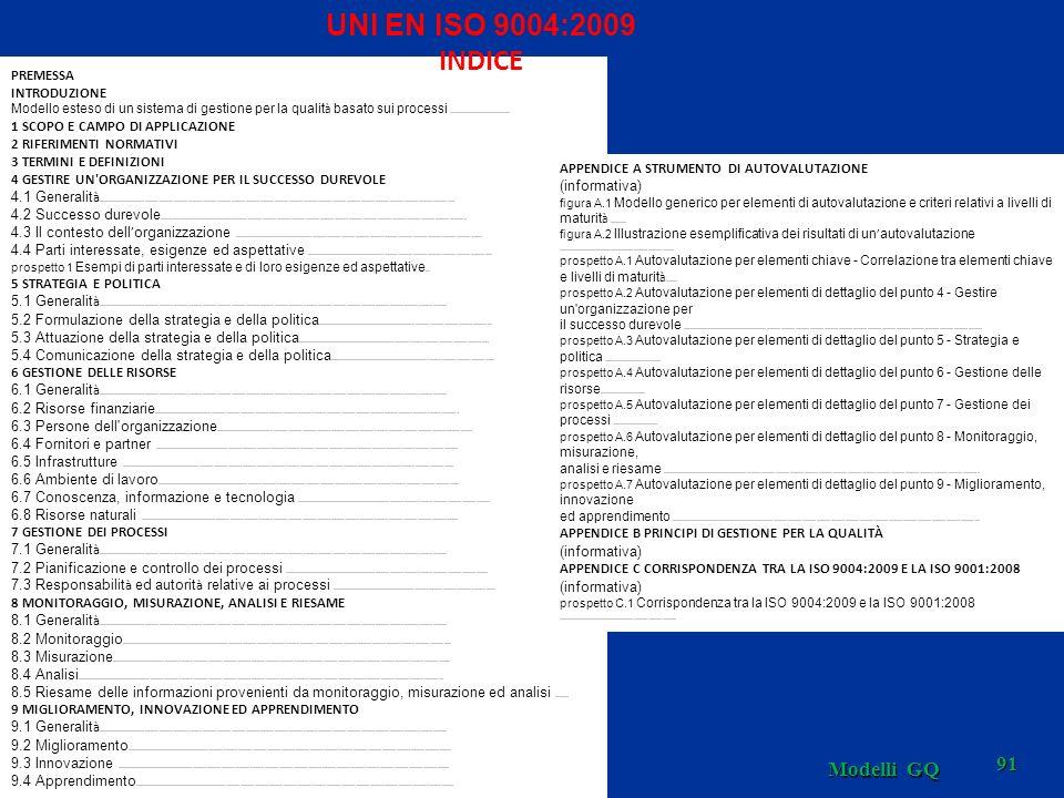 UNI EN ISO 9004:2009 INDICE Modelli GQ PREMESSA INTRODUZIONE