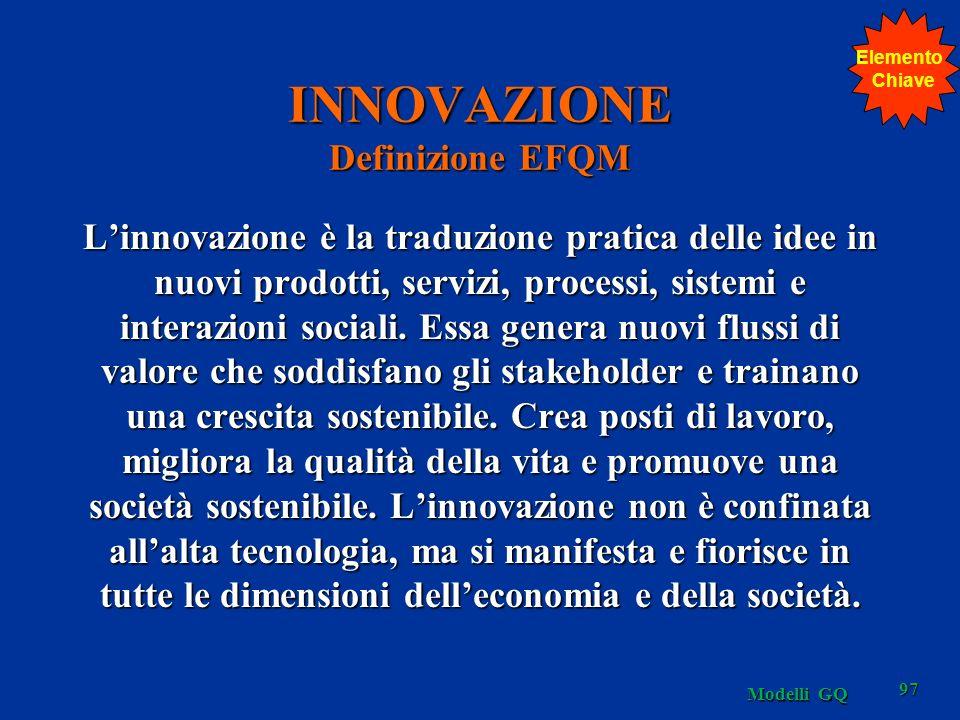 INNOVAZIONE Definizione EFQM