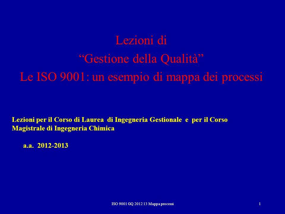 Gestione della Qualità Le ISO 9001: un esempio di mappa dei processi