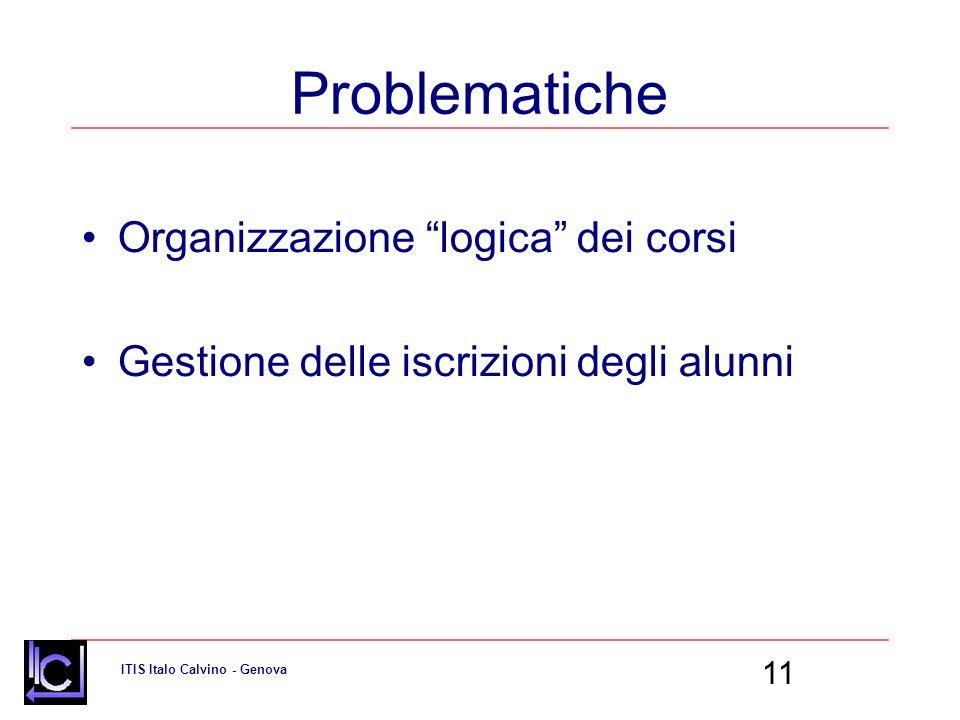 Problematiche Organizzazione logica dei corsi