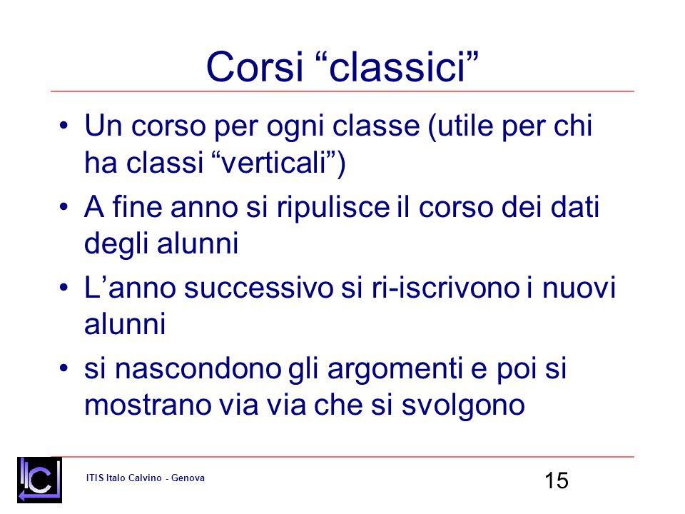Corsi classici Un corso per ogni classe (utile per chi ha classi verticali ) A fine anno si ripulisce il corso dei dati degli alunni.