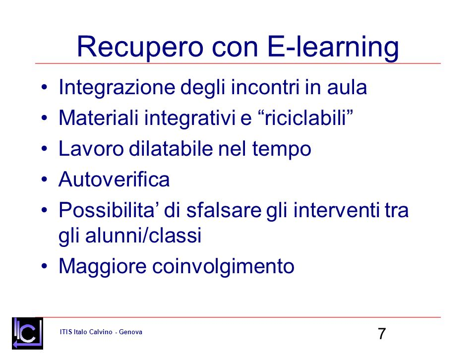Recupero con E-learning