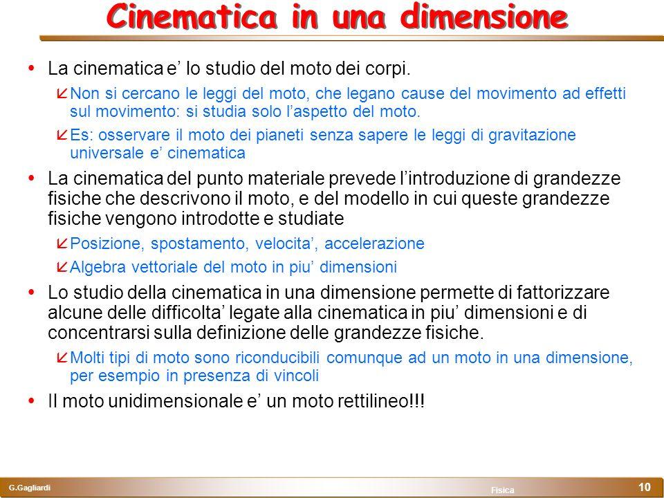 Cinematica in una dimensione