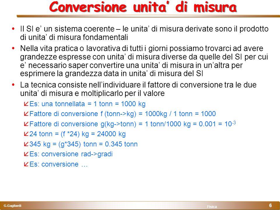 Conversione unita' di misura